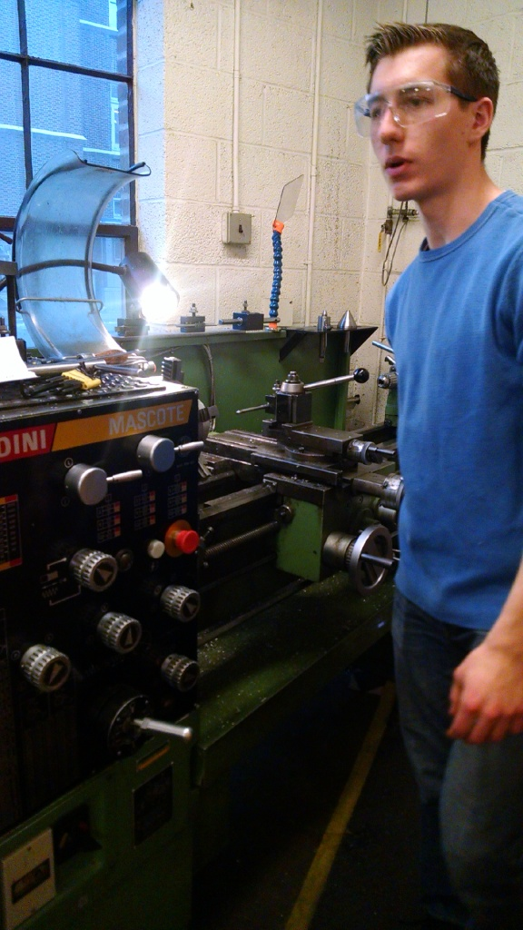 Riley on the Lathe with the Oxygen Resevoir