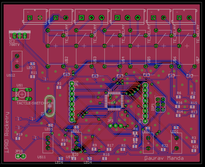 PCB Layout from eagle as designed by Gaurav Manda