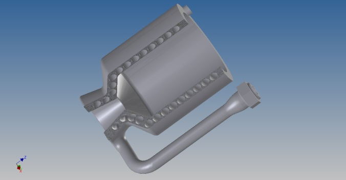 CAD Model of LPRD Rocketry regeneratively cooled rocket engine chamber designed for 3D printing with single spiral coolant fuel channel