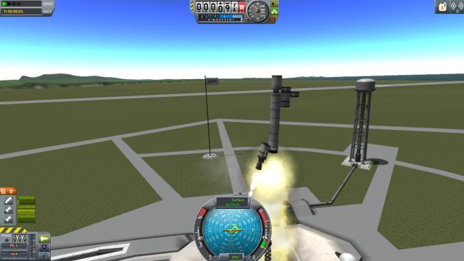 LPRD Rocketry using Kerbal Space Program to simulate an asymmetrical thrust rocket both engines firing