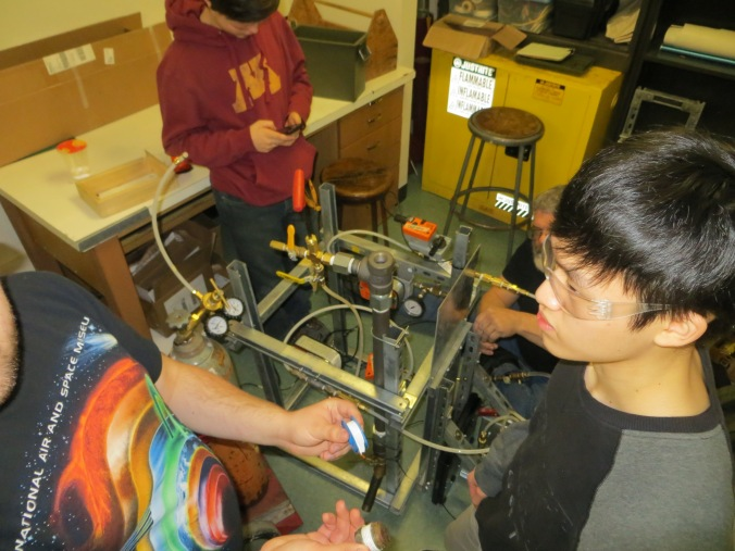 LPRD Rocketry team members working on modifying their test stand