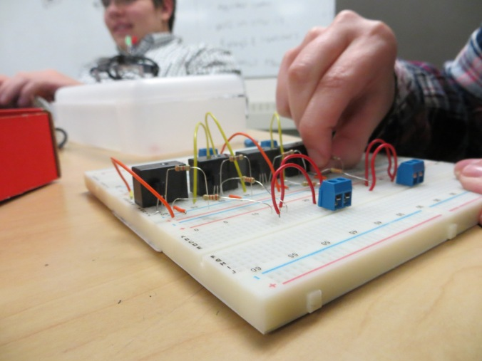 LPRD Rocketry's Ginny working on creating a breadboard for use on our avionics