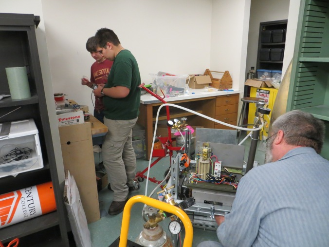 LPRD Rocketry members during dress rehearsal making last minute modifications to test stand